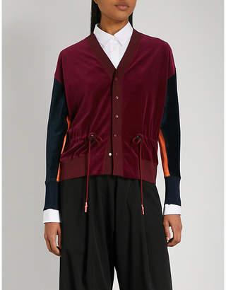 Toga Drawstring velvet cardigan