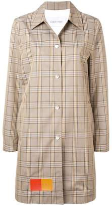 Calvin Klein patched glen check coat