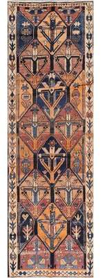 "Astoria Grand Geometric Boulware Persian Oriental Hand-Knotted Wool Runner Rug 12' 0"" X 3' 9"" Astoria Grand"