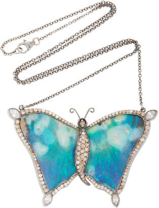 Black Opal Kimberly McDonald One-Of-A-Kind Butterfly Pendant With Natural Brown Diamonds Set In 18K White Gold And 18K Rose Gold With Black Rhodium
