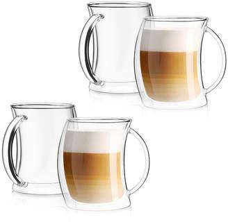 JoyJolt Caleo Double Wall Insulated Latte Glasses, Set of 4