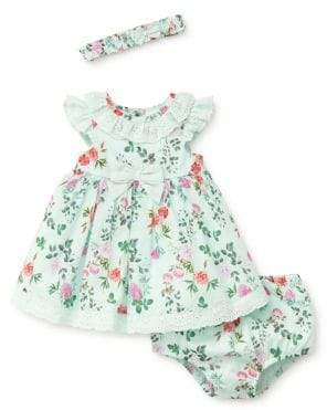 Little Me Baby Girl's Three-Piece Cotton Floral Dress, Bloomers and Headband Set