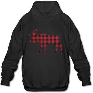 Buffalo David Bitton Michael Conti Red Plaid Moose Pullover Hoodie Sweatshirt Long Sleeve Sports Tops Hooded For Men