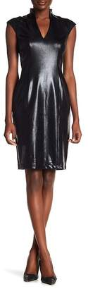 Alexia Admor Faux Leather Cap Sleeve Dress