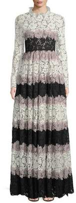 Valentino Ruffle-Collar Long-Sleeve Striped Heavy Lace Evening Gown