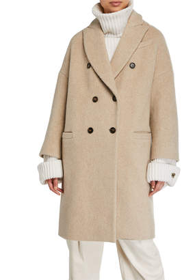 Brunello Cucinelli Curly-Cashmere Dropped Shoulder Coat