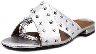 Halston H Womens Nora Dress Square Toe Slide Sandals Silver 6 Medium (B,M)