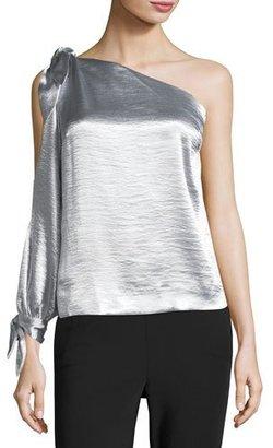 Rebecca Minkoff Nash One-Shoulder Metallic Blouse w/ Ties