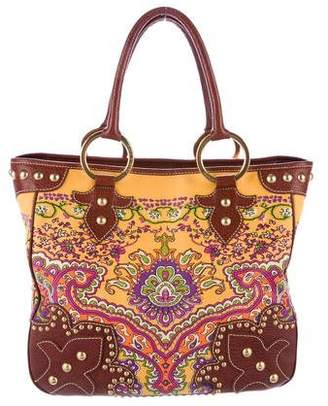 Isabella Fiore Leather-Trimmed Printed Tote