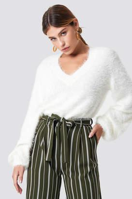 NA-KD Na Kd Hairy Deep V-neck Sweater Black