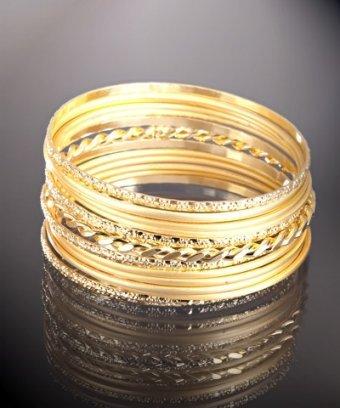 Chamak by Priya Kakkar set of 13 - gold assorted metal thin bangles