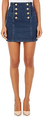 Balmain Women's Stretch Cotton Double-Breasted Miniskirt