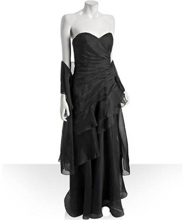 Theia black organza ruffle strapless gown