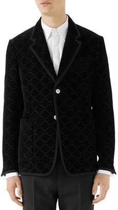 Gucci Men's GG-Embossed Velvet Two-Button Blazer