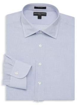 Saks Fifth Avenue BLACK Mini Checkered Slim-Fit Dress Shirt