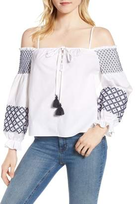 Rebecca Minkoff Tiffany Embroidered Cold Shoulder Top