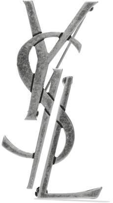 Saint Laurent 氧化银色胸针