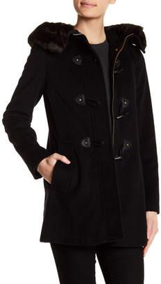 Ellen Tracy Solid Faux Fur Trim Coat