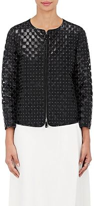 Armani Women's Studded Leather Cutout Jacket-BLACK, NAVY $8,595 thestylecure.com