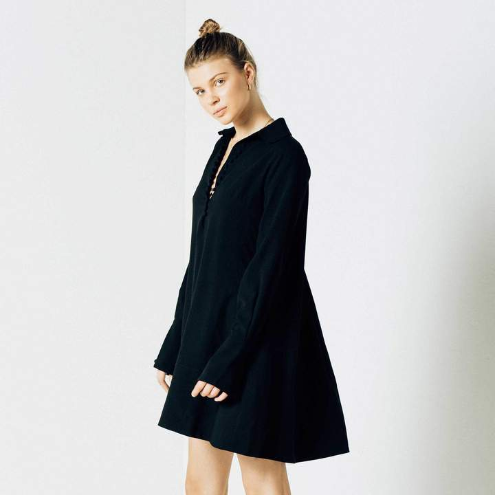 DSTLD Womens Crepe Button Dress in Black