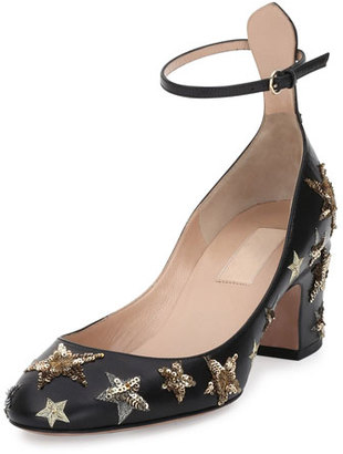 Valentino Star-Studded Low-Heel Ankle-Strap Pump, Nero/Al Campione $1,395 thestylecure.com