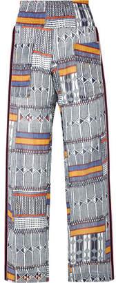 Lemlem Kente Smocked Canvas-trimmed Printed Cotton-gauze Pants - Navy