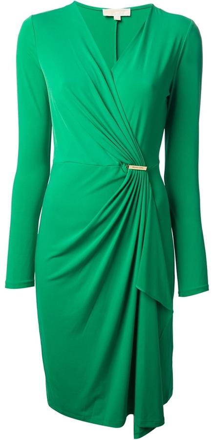 Michael Kors crossover gathered dress