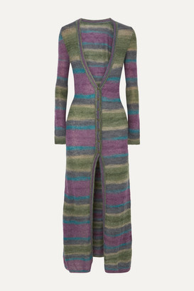 Jacquemus La Robe Gilet Striped Mohair-blend Cardigan - Purple