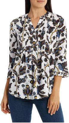 Regatta Folk Floral Pintuck 3/4 Sleeve Top