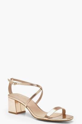 boohoo Cross Strap Low Block Heels