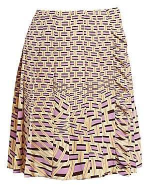 Prada Women's Crepe De Chine Weave Print Pleated Skirt