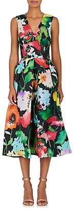 Monique Lhuillier WOMEN'S FLORAL GAZAR FIT & FLARE COCKTAIL DRESS SIZE 2