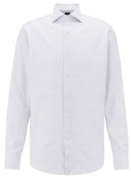 BOSS Hugo  Tailored regular-fit cotton shirt geometric structure 16 Blue