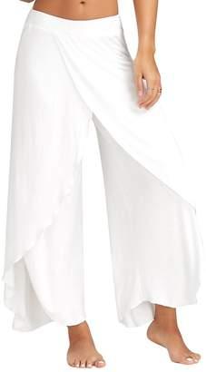 Suvotimo Women Solid Wide Leg Slit Full Length Yoga Pants Plus Size L