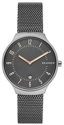 Skagen Two Hand Grenen Titanium and Steel-Mesh Watch