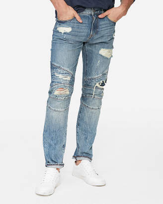 Express Slim Medium Wash Destroyed Moto 100% Cotton Jeans