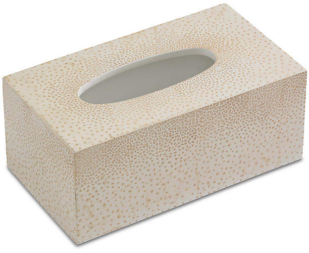 Dappled Tissue Box Cover - Cream