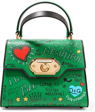 Dolce & Gabbana Welcome Small Printed Leather Tote - Green