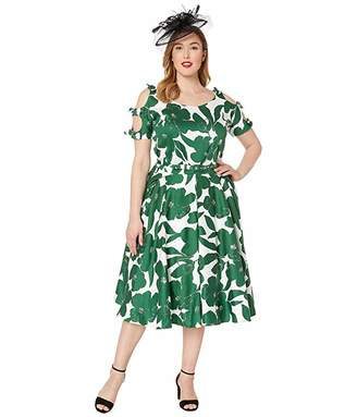 66914b04770db7 Unique Vintage Plus Size 1950s Bow Sleeve Selma Swing Dress