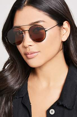 Forever 21 Brow-Bar Round Sunglasses