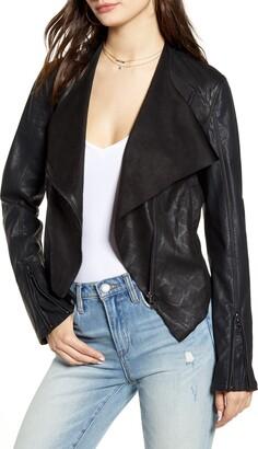 Blank NYC Blanknyc Drape Front Faux Snakeskin Jacket