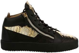 Giuseppe Zanotti Metallic Snakeskin High-Top Sneakers
