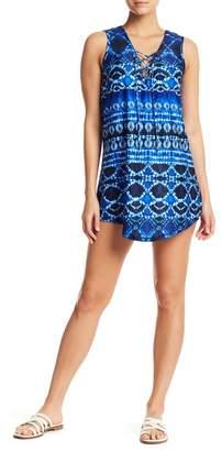J Valdi Batik Lace-Up T Cover-Up Dress