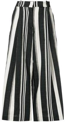 Kiltie cropped stripe trousers