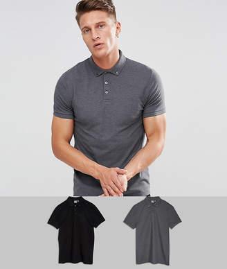 Asos Design Pique Polo With Button Down Collar 2 Pack Save
