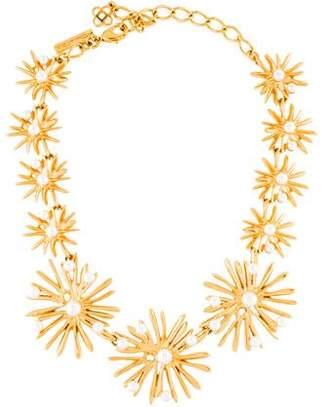Oscar de la Renta Faux Pearl Floral Collar Necklace