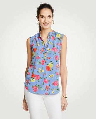 Ann Taylor Island Floral Shirred Popover Shell