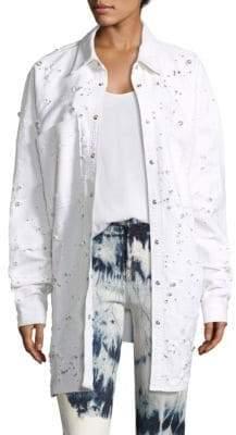 Eileen Fisher Distressed Denim Jacket