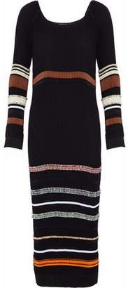 Derek Lam Striped Color-Block Plissé Midi Dress