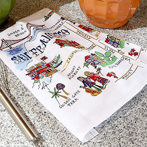 San Francisco Travel Map Towel Set of 2